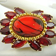 SALE Art Glass, Comet Aurum and Red Rhinestone Brooch