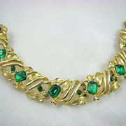 Emerald Green Rhinestone and Gold Tone Bracelet
