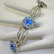 Stunning 1938 Coro Craft Pegasus Blue Rhinestone Bracelet