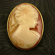 SALE Lucite Cameo Brooch in Coral and Cream