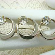 SALE Sandor Triple Ring Brooch with Swarovski Crystals