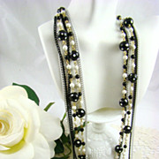 SALE Alice Caviness 6-Strand Black &White Polka Dot Necklace