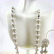 SALE Whiting & Davis Satin Finish Silver Tone Necklace and Earrings
