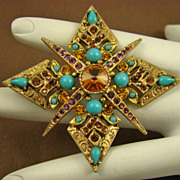 SALE Renaissance Revival Inspired Brooch ~ Amethyst, Topaz, and Faux Turquoise Glass~ Art