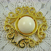 SALE Vintage Nettie Rosenstein  Ivory Colored Gold Plated Brooch