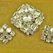 SALE Phenomenal Weiss Clear Rhinestone Brooch and Earrings ~ Evening ~ 1950s