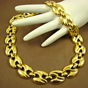 SALE Polished Gold Tone Link Necklace