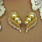 SALE Jomaz Pave` Rhinestone and Imitation Pearl Earrings