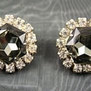 SALE Black Diamond Rhinestone Evening Earrings