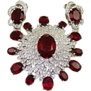 SALE Phenomenal Art Deco Style Set by Polcini ~ Ruby Red and Clear Rhinestones