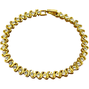 SALE 24Kt Gold Plated Rhinestone Tennis Bracelet