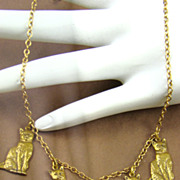Charming Cat Necklace in Brass by Pididdly Links