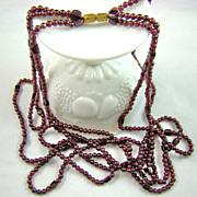 SALE Garnet Bead Triple Strand Necklace