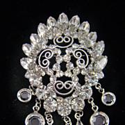 SALE Stunning Convex Bridal Clear Rhinestone Drop Brooch