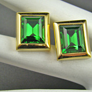 SALE Older Swarovski Emerald Crystal Earrings