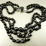 SALE Stunning Austrian Black Crystal Necklace