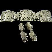 SALE Heraldic Lion & Knight Crest Bracelet & Earrings ~ Rare Couture ~ Lucien Piccard