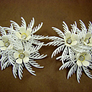 SALE 1960's White Plastic Feathery Earrings with Rhinestones