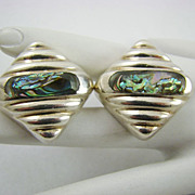 SALE Mexico Sterling and Abalone Earrings