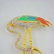 SALE Fabulous D'Orlan Austrian Crystal and Enamel Flamingo Brooch