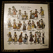 Vintage Framed Fisba Stoffels Linen Handkerchief ~ Swiss Costumes ~ 60's