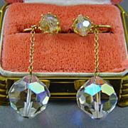 SALE Faceted Aurora Borealis  Crystal Runway or Wedding Earrings