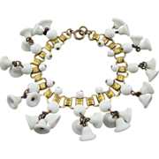 SALE 1920's Art Deco Book Chain Milk Glass Bead Bracelet