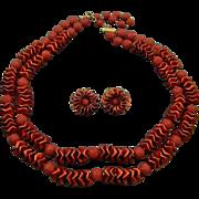 SALE Stunning Dark Red Satin and Sugared Bead Demi Parure