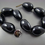 SALE Ralph Lauren Bold Glossy Black Eggplant Shaped Ceramic Necklace