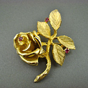 SALE 1940's Crown Ciro Gold Plated Rose Brooch with Pink Cubic Zirconia