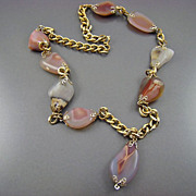 SALE Polished Agate Necklace in Pink Tones