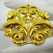 SALE Signed Miriam Haskell Russian Gold Plated Repousse Brooch