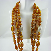 SALE Yummy Caramel Lucite Bead Necklace with Gold Tone