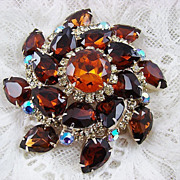 SALE Juliana Magnificent Amber, Topaz and Aurora Borealis Brooch