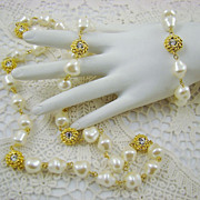SALE Opera Length Baroque Imitation Pearl and Rhinestone Set