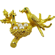 SALE Rare Mother and Baby Bird at Nest Brooch by Jeanne