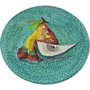 Mid Century Italian Pottery Plate ~ Hand painted