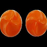 SALE Germany Tangerine Molded Lucite Earrings