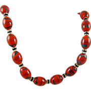 SALE Stunning 1930s Red and Green Art Glass Necklace/Choker
