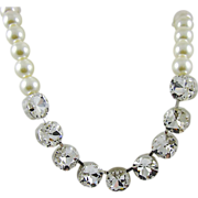 SALE Breathtaking Square Rhinestone and Imitation Pearl Necklace