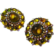 SALE Vendome Olivine and Amber Glass Earrings