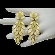 SALE Trifari Cream Enamel with Gold Tone Earrings ~ 1960s