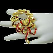 SALE Krementz Gold Tone and Red Ribbon Wreath Brooch
