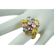 Pretty Pastel Oval Rhinestone Dinner Ring ~ Size 6