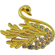 SALE Gold Tone and Rhinestone Swan Brooch