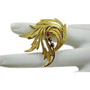 SALE Gold Filled Garnet Brooch Amerikaner A*D