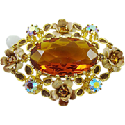 SALE Breathtaking Honey Amber Glass ~ Rhinestones ~ Enamel Austria Brooch