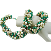 SALE Chrysoprase,Glass Baroque Faux Pearl and Rhinestone 1950s Set