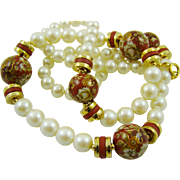 SALE Imitation Pearl and Burgundy Painted Bead Necklace