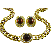 SALE Ciner Ruby Red Glass with Clear Swarovski Crystals Gold Plated Set ~ Mint Condition